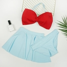 日系死庫水夢展ins三件套鋼托裙式分體可愛蝴蝶結女泳衣新款泳裝