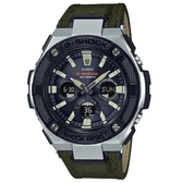 【CASIO】 G-SHOCK 太陽能帆布錶帶三眼錶-軍綠錶帶(GST-S330AC-3A)