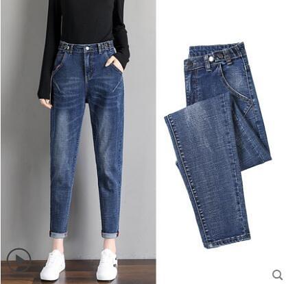 宽鬆哈伦牛仔裤女装高腰加绒2020年秋冬新款女士显瘦直筒老爹裤子
