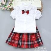 童裝女童白色短袖襯衫寶寶寸衣純棉兒童圓領上衣翻領小學生演出服【小艾新品】
