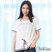 Victoria 織帶寬鬆落肩短袖T-女-白色