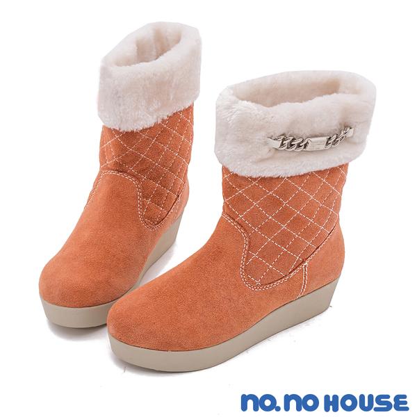 短靴 嚴選質感麂皮菱格紋厚底中筒靴(橘) * nonohouse【18-8360or】【現貨】