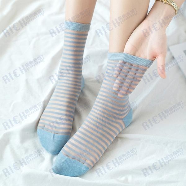 透明襪子女韓國ins潮夏季薄款玻璃絲卡絲中筒襪可愛日系條紋短襪