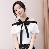 白色雪紡衫女短袖2018春夏新款一字肩