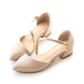 amai素面斜口一字軟金屬繞背中跟鞋 杏