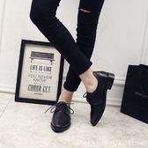 2019年春夏新款英倫學院風布洛克鞋 繫帶尖頭低跟小皮鞋_3色