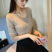 【GZ 81】春秋新款女裝V領針織打底衫韓版套頭毛衣女百搭長袖修身上衣