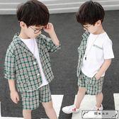 男童夏裝新款韓版洋氣西裝中袖短褲套裝兒童T恤時尚三件套裝