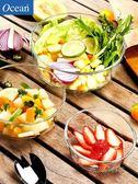 Ocean進口玻璃碗沙拉碗家用耐熱大碗透明大號水果湯碗餐具帶蓋MBS 「時尚彩虹屋」