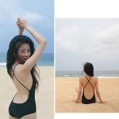 黑色性感極簡線條連身泳裝 泳衣 橘魔法 magic G 現貨 顯瘦 泳裝