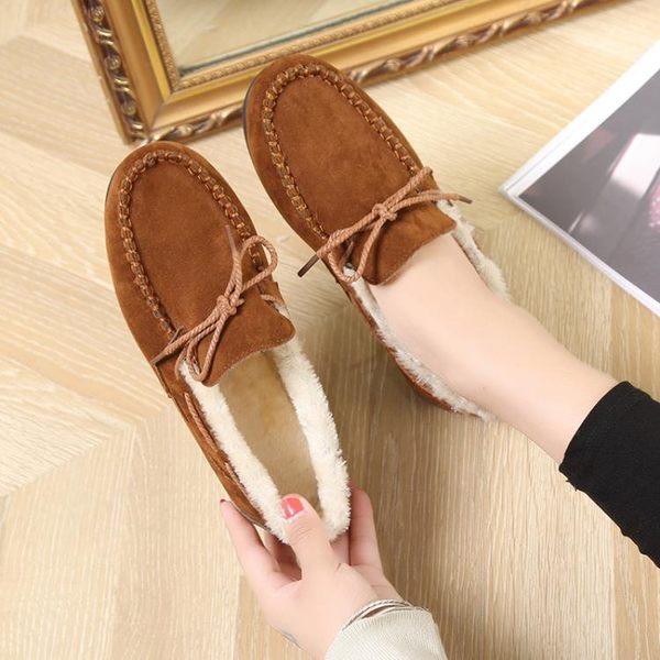 豆豆鞋 豆豆鞋女加絨刷毛百搭平底厚底棉鞋正韓加厚一腳蹬毛毛鞋 酷我衣櫥