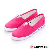 美國AIRWALK-390元起 三角鬆緊 百搭舒適懶人帆布鞋(女)-桃紅