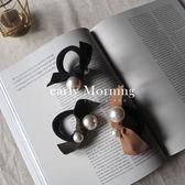 ✦ 正韓 ✦ early Morning - 珍珠蝴蝶結手工髮圈 手環 麂皮三色 韓國帶回【MEM017】