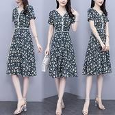 洋裝連身裙短袖M-4XL短袖雪紡印花拼接花邊連衣裙顯瘦修身長裙非A008-9416胖胖唯依