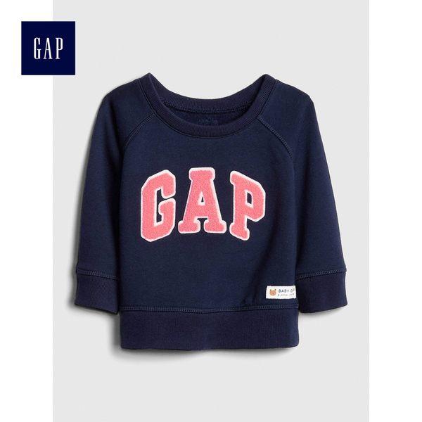 Gap男嬰兒 Logo插肩長袖圓領休閒上衣 489493-海軍藍色