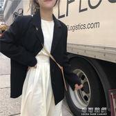 時尚女裝秋裝韓版氣質純色小西服百搭復古中長款西裝外套 可可鞋櫃