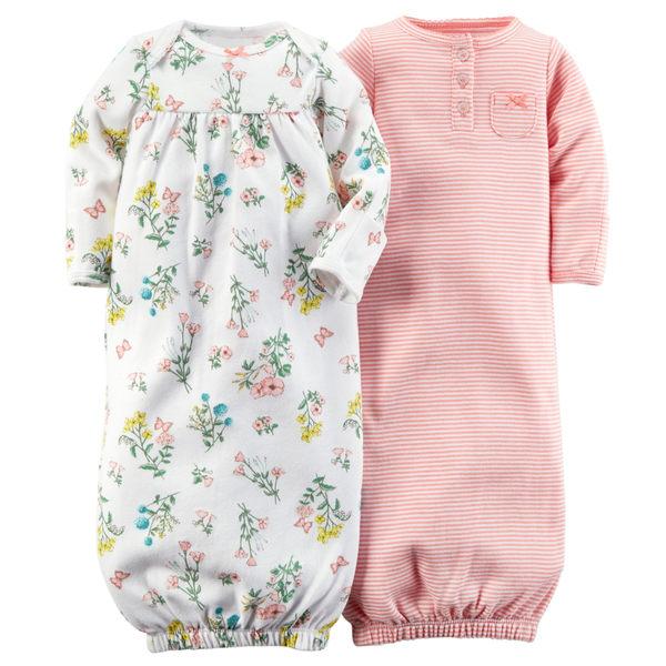 【美國Carter's】長袖純棉新生兒睡袍2件組 - 粉嫩花卉系列 121D558