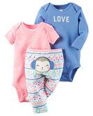 3件組長短袖包屁衣+長褲套裝: 藍粉小猴: 126G427