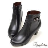 訂製鞋 素色牛皮圓頭水鑽飾粗跟短靴-黑色下單區