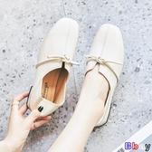 Bbay 豆豆鞋 英倫風一腳蹬小皮鞋韓版百搭兩穿平底豆豆鞋單鞋女子