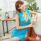 俏麗水藍色網紗刺繡旗袍二件組 | OS小舖