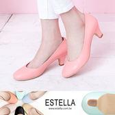 ESTELLA-MIT台灣製小羊皮靜音低跟鞋