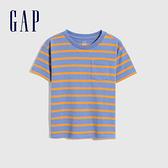Gap男幼童 厚磅密織系列碳素軟磨 純棉短袖T恤 755301-橘色條紋