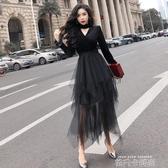 初秋季洋裝2020新款長袖氣質嗽叭袖網紗中長款黑色紗裙子女春秋 依凡卡時尚