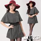 【AnZa】小格紋斗篷造型洋裝