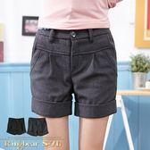 短褲--優美身型壓摺毛呢後腰鬆緊設計反折短褲(黑.灰M-2L)-R131眼圈熊中大尺碼