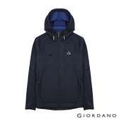 【GIORDANO】男款G-MOTION反光LOGO搖粒絨連帽運動外套-04 雪花深藍/暮色藍