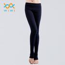【WIWI】MIT溫灸刷毛踩腳發熱褲(湛海藍 女S-2XL)