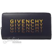 茱麗葉精品【全新現貨】Givenchy 紀梵希 撞色LOGO小羊皮拉鍊長夾.深藍