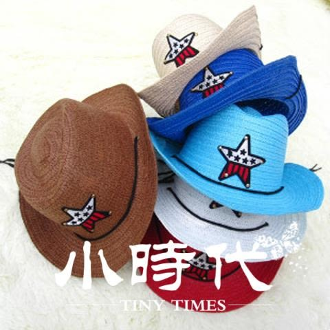 遮陽帽 兒童草帽男童遮陽表演沙灘帽寶寶夏天正韓西部牛仔帽包郵