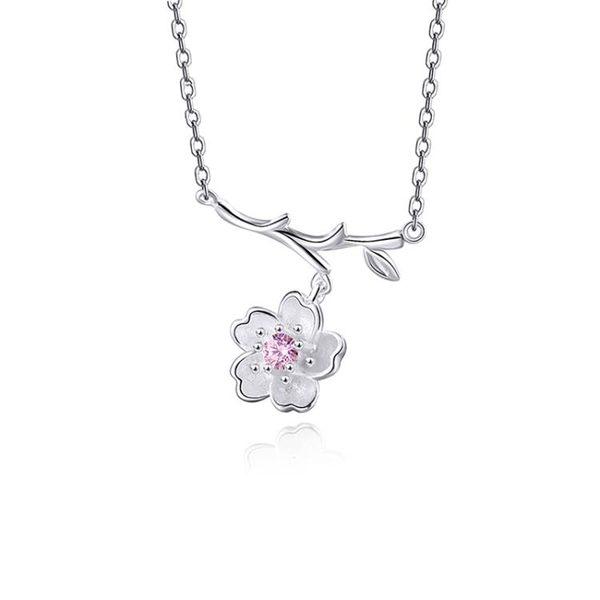 項鍊粉色鑲鑽櫻花項鍊日系小清新森系甜美花朵鎖骨學生禮物 免運快速出貨