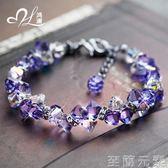 手錬女紫水晶手錬女轉運簡約百搭時尚閨蜜個性冷淡風首飾網紅飾品 至簡元素