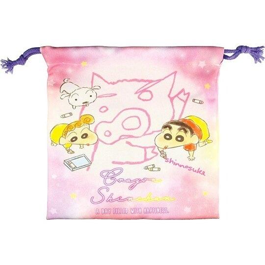 小禮堂 蠟筆小新 棉質束口袋 旅行收納袋 小物袋 縮口袋 (粉 塗鴉) 4548626-13083