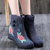 新款秋冬老北京布鞋女時尚民族風繡花鞋內增高跟短靴古風單靴 萬聖節鉅惠