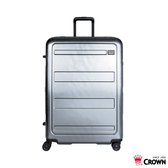CROWN皇冠 (促銷價6折) 82開防盜拉鍊 純PC 行李箱/旅行箱-26吋(銀灰色) CF1783
