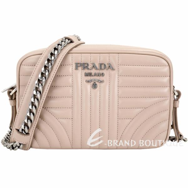 PRADA Diagramme 中型絎縫小牛皮鍊帶相機包(裸色) 1810423-C5