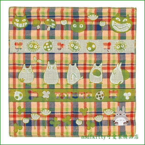 asdfkitty可愛家☆龍貓散步版方巾手帕-棉布材質-擦汗防灰塵好用-日本製