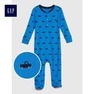 Gap男嬰兒 卡車圖案連腳長袖一件式包屁衣 494283-微風藍