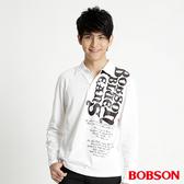 BOBSON 男款字母印圖長袖POLO上衣(31019-81)