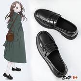 娃娃鞋 小皮鞋 英倫風 一腳蹬 黑色單鞋