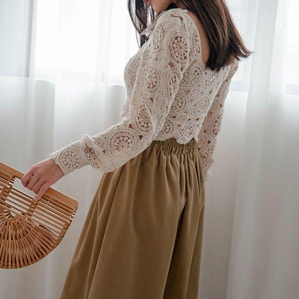 MIUSTAR 超顯瘦!腰頭壓褶鬆緊長裙(共3色)【NH0841】預購