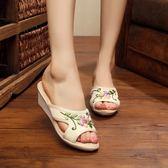 居家外穿亞麻舒適拖鞋 防滑繡花鞋牛筋底老北京布鞋女拖鞋坡跟單鞋