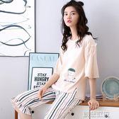 睡衣女夏季短袖純棉卡通韓版清新學生全棉外穿  創想數位