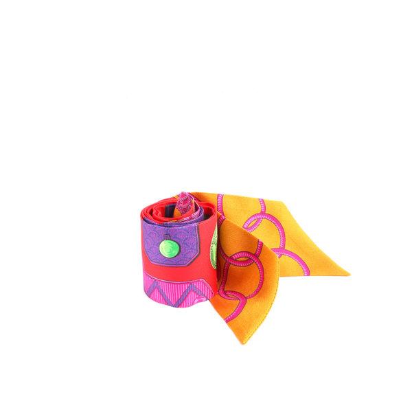 【HERMES】 古硬幣圖騰TWILLY提把專用絲巾(一對)(紅/紫/綠) HE75000073