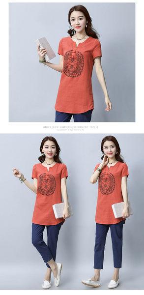 找到自己 G5 韓國時尚 棉麻 短袖 中長款 純色 復古 上衣 印花 短袖 T恤