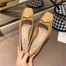 蕾拉 小輕熟風蝴蝶結方頭淺口粗跟單鞋女春秋新款韓版3cm低跟女鞋